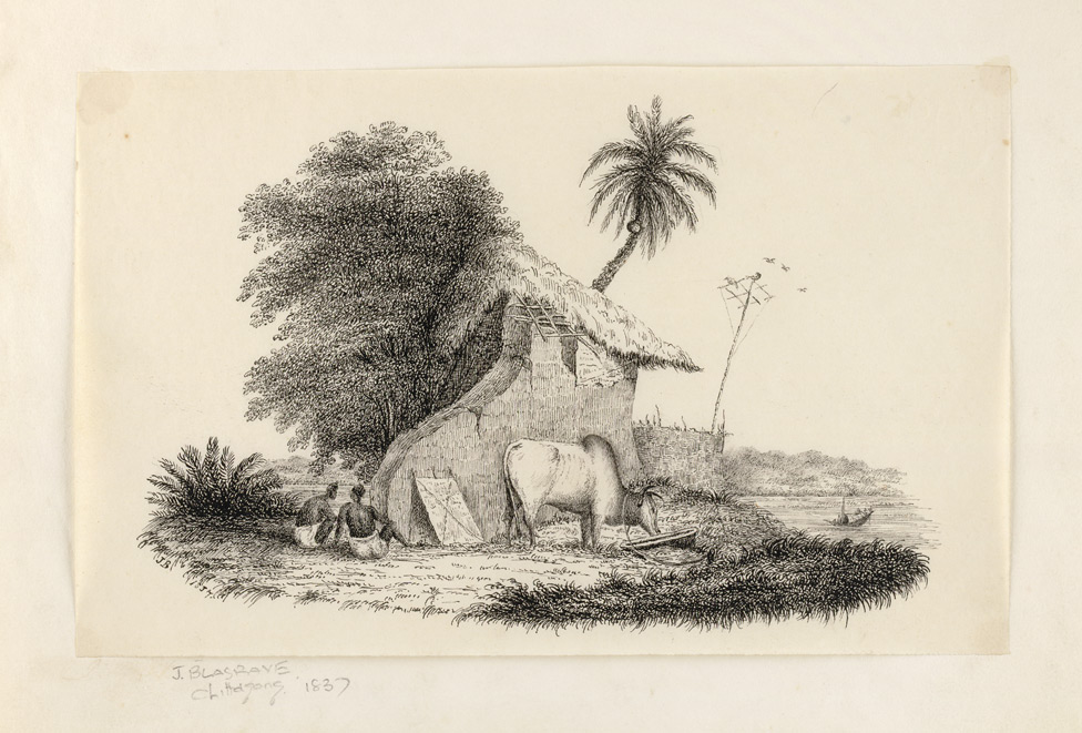 Village scene with thatched hut, villagers, bullock and river (Bengal)